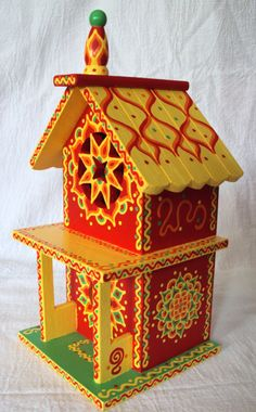 Whimsical Hand Painted Birdhouse 2 Story True Red by SingingTrees, $45.00