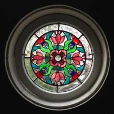 Large Round Iridized Victorian Stained Gl Window Panel Ebsq Artist Art And Mosaics Pinterest Windows