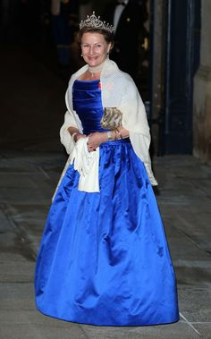 Queen Sonja of Norway arrives at a pre-wedding gala for Prince Guillaume and Stephanie de Lannoy 19 Oct 2012