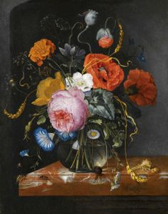 Jacob van Walscapelle (1644-1727) — Still Life with Flowers in a Glass Vase on a Marble Ledge (1000x1279)
