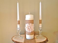 Lace Pearl and Burlap Unity Candle Complete Set by RusticLayla, $18.99