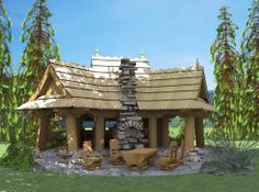 of wood Wooden Arbor, Arbors, Pergola, Outdoor Structures, Cabin, House Styles, Home Decor, Homemade Home Decor, Cabins