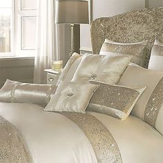 Kylie Minogue Duo Oyster Sequin in Oyster Cream Duvet Cover, Pillow cases