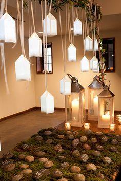 creative party event wedding lighting lanterns & rock escort cards | Matthew Robbins Design | Christian Oth Photography