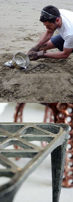 British designer Max Lamb Making of 'Pewter Stool' Cast in the sand of a bea. British designer Max Lamb Making of 'Pewter Stool' Cast in . Sand Casting, Metal Casting, Metal Projects, Diy Projects, Diy Furniture, Furniture Design, Design Tisch, Deco Design, Blacksmithing
