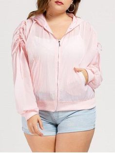 RoseGal.com - RoseGal Drawstring Plus Size Zipper Windbreaker Jacket - AdoreWe.com