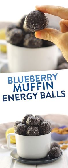 Want the taste of a  sweet and delicious blueberry muffin, without all of the gunk? Make these Raw Blueberry Muffin Energy Balls for a nutritious snack that doesn't skimp on the flavor! #energyballs #blueberryenergyballs