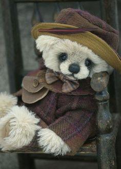 Plum Duff, dressed in alpaca wool ~ Made for Hugglets by Three O'Clock Bears