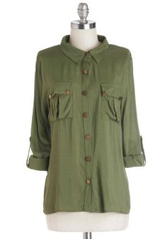 Oregano All About It Top - Mid-length, Woven, Green, Solid, Buttons, Pockets, Safari, 3/4 Sleeve, Good, Collared, Casual, Military, Button D...