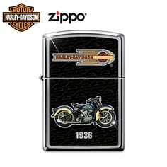 1936 Model EL Knucklehead Zippo Lighter created using beautiful full-color images directly provided by the Harley-Davidson archives. I added a repeating bar-and-shield background pattern. The logo was chosen because it is an authentic match for this era of classic motorcycles. Shining high-polish chrome shows around the edges of the '36 Knucklehead. This was a fun design to create for a great American icon.
