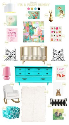 Super cute and bright bunny nursery inspiration! | via Lay Baby Lay