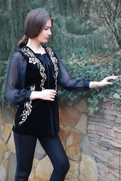 """An elegant velvet vest with hand-embroidered """"Golden lights"""" – shop online on Livemaster with shipping - Jordan Dress, Desi Wedding Dresses, Dressy Casual Outfits, Abaya Fashion, Traditional Outfits, Elegant Dresses, Fashion Boutique, Velvet, Womens Fashion"""