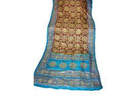 Vintage Silk Sari Saree Hand Printed Gold by EmeliasHouseOfLinens