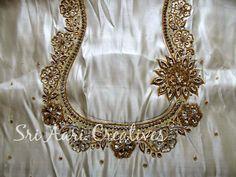 SRI AARI CREATIVES: Zardosi Work Wedding Saree Blouse Designs, Blouse Designs Silk, Designer Blouse Patterns, Hand Embroidery Videos, Machine Embroidery Patterns, Embroidery Designs, Hand Work Blouse Design, Stylish Blouse Design, Embroidery Fashion