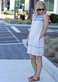 Anthropologie dress with blue embroidery