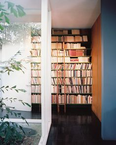 A ladder propped against shelves of books.