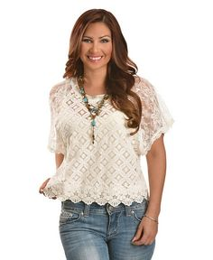 Miss Me Crocheted Lace Crop Top from Shepler's