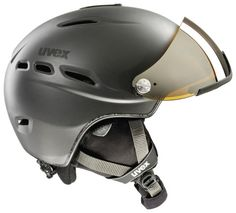 The UVEX HLMT 200 Visor Ski Helmet (£143.95) with a built-in visor, with optimal adaptation to different head sizes and shapes. Comes in 2 sizes.