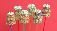 Banana's dipped in yogurt and covered with Cheerio's and sprinkles....healthier than dipped in just chocolate!