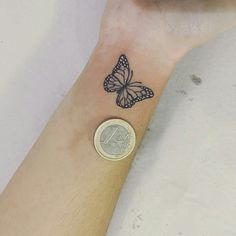 Butterfly Tattoo Ideas You Will Love; Back Butterfly Tattoo; Tiny Tattoos For Girls, Cute Small Tattoos, Little Tattoos, Cute Tattoos, Beautiful Tattoos, Tattoos For Women, Wrist Tattoos Girls, Tattoo Small, 13 Tattoos
