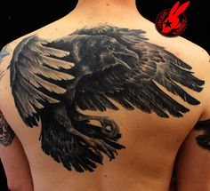 c12ebdb8ee0d0 Raven Back Tattoo by Jackie Rabbit by jackierabbit12.deviantart.com Crow  Tattoo Meaning,