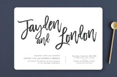 """""""blithe"""" - Wedding Invitations in Charcoal by Design Lotus."""