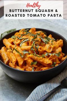 This butternut squash and roasted tomato pasta is the perfect pasta dish. It's creamy and super flavorful. Best of all it's totally dairy-free and vegan, so it's healthy as can be. Makes a great weeknight meal for your family! #weeknightmeals #pastarecipes #butternutsquash #healthydinners Healthy Comfort Food, Healthy Meals, Healthy Recipes, Roasted Tomato Pasta, Roasted Tomatoes, Pasta Recipes, Yummy Recipes, Free Recipes, Dinner Recipes