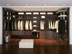 Closet and Wardrobe Designs. Modern stylish brown walk-in closet design with wooden wall-mounted shelves for nice saving-space ideas for clothes, shoes and accessories storage. Fancy Dream Home Interior Walk-in Closet Designs Walk In Closet Design, Wardrobe Design, Closet Designs, False Ceiling Design, False Ceiling Living Room, Walking Closet, Master Bedroom Closet, Bedroom Closets, Master Bedrooms