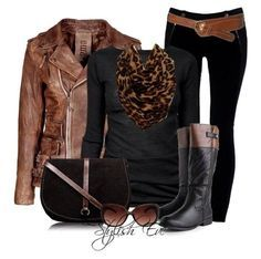 I don't care for the belt, boots, or bag. But I love the basic pieces of the outfit.