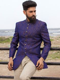 Shop Purple silk designer jodhpuri suit online from G3fashion India. Brand - G3, Product code - G3-MCO0709, Price - 18995, Color - Purple, Fabric - Silk,
