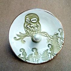 Ceramic Owl Ring Holder Bowl Sage green by dgordon on Etsy, $16.00