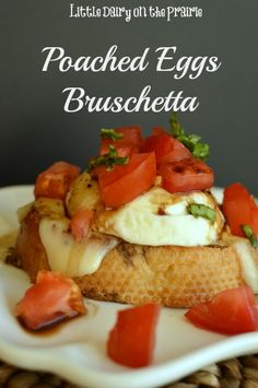 Poached Eggs Bruschetta Recipe: Serves:1 ~Wake your taste buds to a fresh twist on a classic breakfast favorite!! Poached Eggs Bruschetta brings lots of flavors into every bite. ~Ingredients: *1 poached egg *1 slice French Bread *butter *2 slices mozzarella cheese *½ tomato-diced *½ tsp fresh basil-julienned ~Bruschetta Vinaigrette: *1 T balsamic vinegar *1 tsp olive oil *dash salt *a little freshly ground black pepper