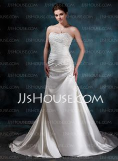 Wedding Dresses - $190.99 - A-Line/Princess Sweetheart Chapel Train Satin Wedding Dress With Ruffle Lace Beadwork (002000452) http://jjshouse.com/A-Line-Princess-Sweetheart-Chapel-Train-Satin-Wedding-Dress-With-Ruffle-Lace-Beadwork-002000452-g452