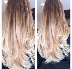 We love this stunning dark blonde to platinum blonde ombre hair colour...x