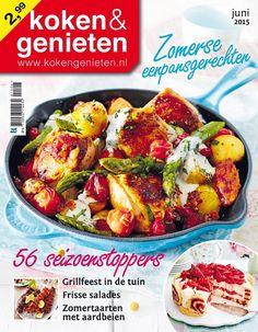 kippannetje met groene asperges en nieuwe aardappels - koken & genieten