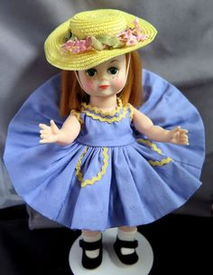 There are matching undies but they are a bit darker than the dress. The doll wears a wonderful yellow straw hat with pink flowers and is in very nice condition. | eBay!