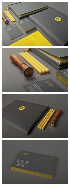 Self-Promotional Identity by Jon Cleave. Love the pop of the yellow. My goal is for the purple to do the same!
