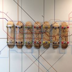 London Underground map made out of skateboards, fab.