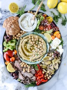greek marinated flank steak and hummus platter by @howsweeteats I howsweeteats.com