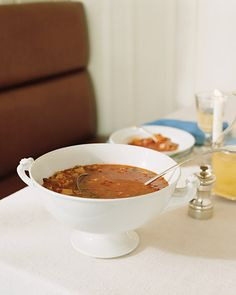 Manhattan Clam Chowder - Martha Stewart Recipes. I wonder how this would be with Chicken of the Sea's whole baby clams.
