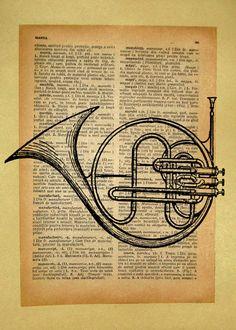 Vintage French Horn Print