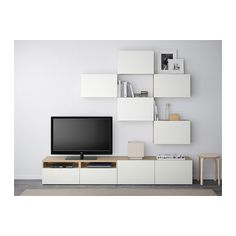 BESTÅ TV storage combination - white stained oak effect/Lappviken white, drawer runner, soft-closing - IKEA
