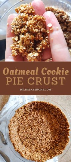 Put together this sweet, spiced, crunchy oatmeal pie crust in a few minutes! Perfect for no-bake cheesecakes and pudding pies! Best Dessert Recipes, Cheesecake Recipes, Easy Desserts, Real Food Recipes, Delicious Desserts, Oatmeal Pie Crust Recipe, Pudding Pies, Oat Cookies, Clean Eating Recipes