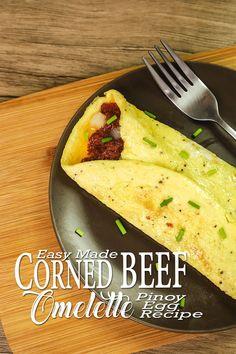 Corned Beef Omelette / Omelet - Egg Recipes ( Pinoy Recipes ). A simple and affordable Egg recipes / Omelette Recipes.   #Cornedbeef #omelette #Eggrecipes Canned Corned Beef, Corned Beef Recipes, Tuna Recipes, Meal Recipes, Cheese Recipes, Vegetable Recipe Pinoy, Vegetable Recipes, Pinoy Food, Filipino Food