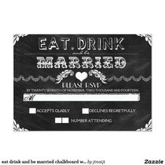 eat drink and be married chalkboard wedding RSVP 3.5x5 Paper Invitation Card