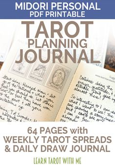 PDF PRINTABLE tarot day planner & tarot journal in one - Dated for MAY 2017 - 64 pages using 16 sheets of paper - Personal Notebook sized insert for Midori & fauxdori planners - Measures approximately 3.75 wide x 6.75 tall when closed - Monthly, weekly, and daily tarot spreads  THIS IS A DIGITAL DOWNLOAD. You can print as many copies of this tarot planner and journal as youd like for your own personal use.  This NEW & IMPROVED version is 8 pages longer than the original, with a n...
