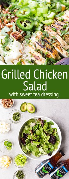 MY FAVORITE SALAD. Deliciously grilled chicken served with a variety of veggies and herbs, tossed with mixed baby greens. This is a grilled chicken salad full of fresh flavors that packs a punch, leaving you feeling satisfied. No whimpy salads allowed here.