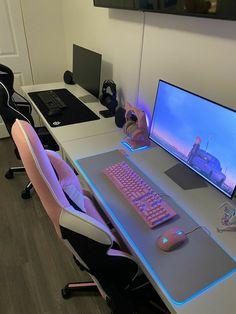 """#wattpad #fanfic """"¿Te dejó solita? Yo te ayudo"""". Ultimate Gaming Room, Best Gaming Setup, Gamer Setup, Gaming Room Setup, Pc Setup, White Desk Gaming Setup, Cool Gaming Setups, Interior Modern, Home Interior"""