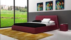 Modrest D537 Modern Burgundy & White Bonded Leather Bed