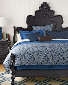 Ralph Lauren Costa Azzurra Bedding  It has cream and tan accents and it's one we both agree on. Cost me an arm & a leg, but found on great sale at Macy's and got an extra 20% off